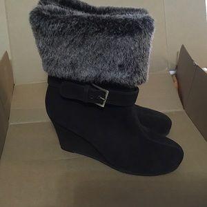 Aerosoles TellTale Mink Suede Boots w/ Faux Fur